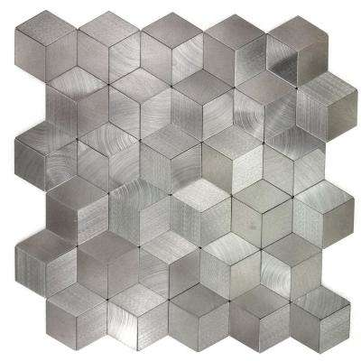Enchanted Metals 12 in. x 12 in. Silver Aluminum 3D Peel and Stick Decorative Wall Tile