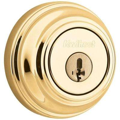 980 Series Polished Brass Single Cylinder Deadbolt featuring SmartKey