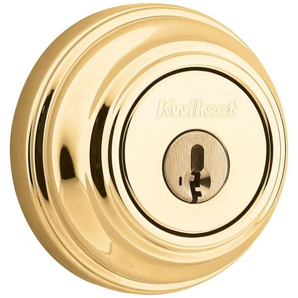 Polished Brass Single Cylinder Deadbolt featuring SmartKey Security with Microban Antimicrobial Technology