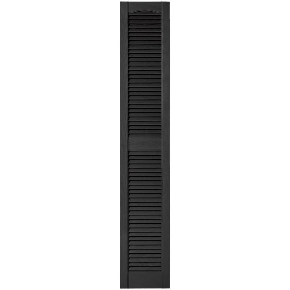 12 in. x 67 in. Louvered Vinyl Exterior Shutters Pair in