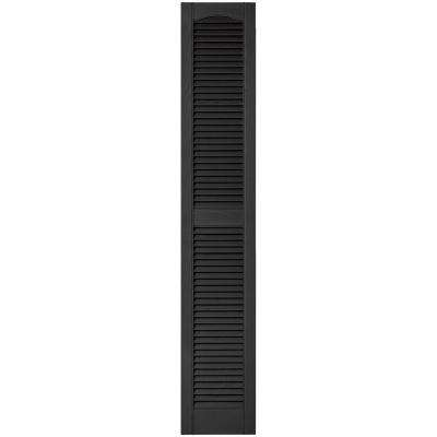 12 in. x 67 in. Louvered Vinyl Exterior Shutters Pair in #002 Black