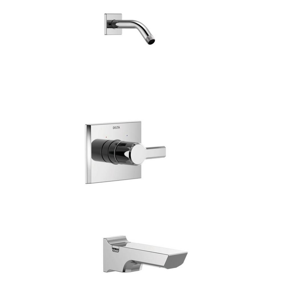 Pivotal 1-Handle Wall-Mount Tub and Shower Trim Kit in Chrome (Valve