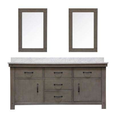 Aberdeen 72 in. W x 34 in. H Vanity in Gray with Marble Vanity Top in Carrara White with White Basins Mirrors Faucets