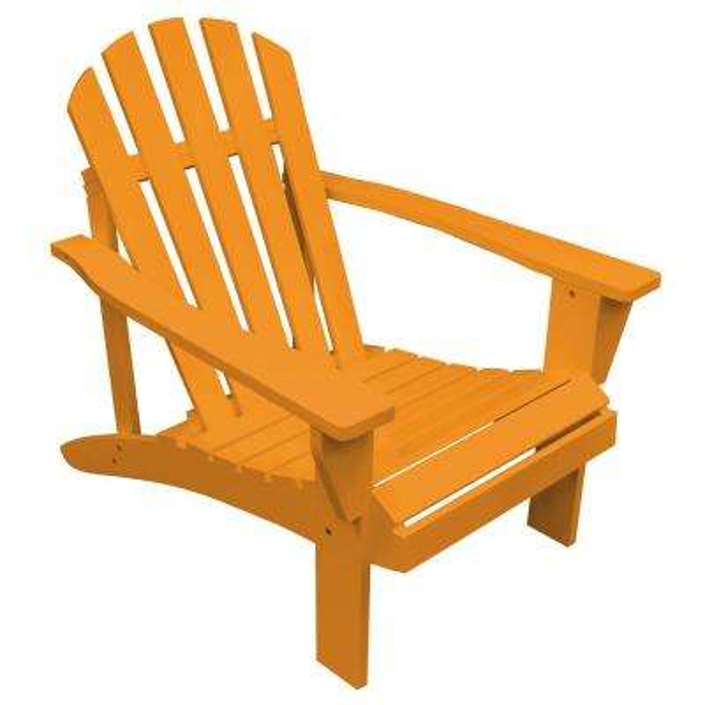 Tangerine Orange Reclining Wood Adirondack Chair with Painted