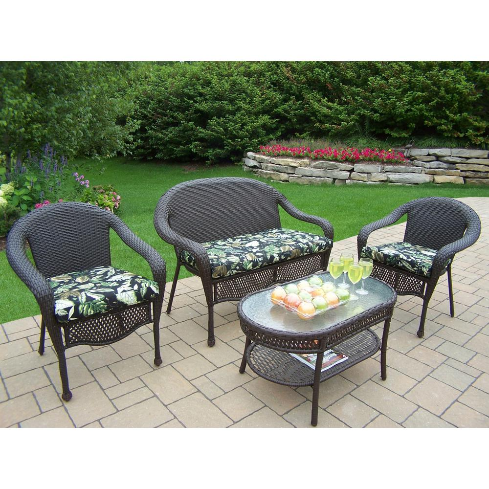 4-Piece Metal Patio Conversation Set with Black Floral Cushions