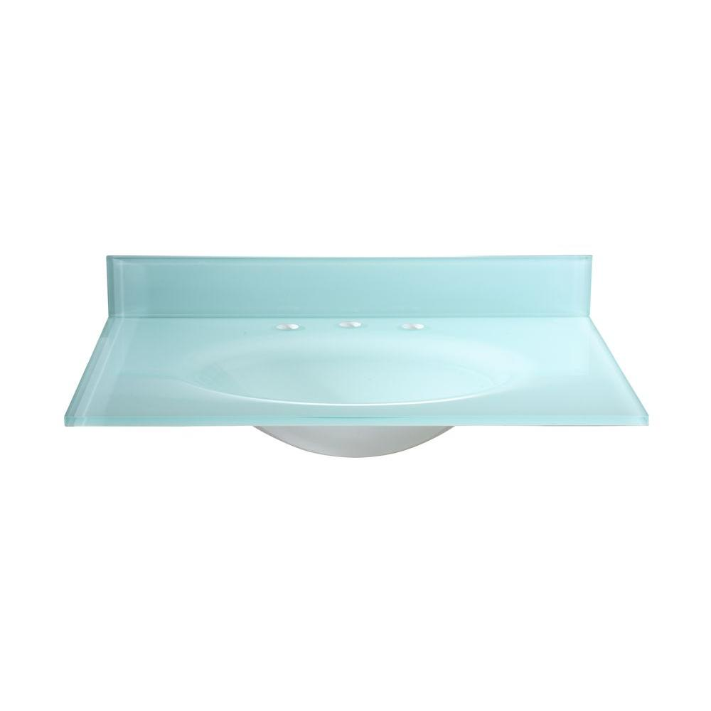 Glass Vanity Tops For Bathrooms : Hembry creek in tempered glass vanity top white