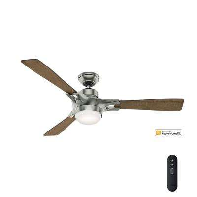 Signal – Wifi Enabled Apple HomeKit/Google Home/Alexa 54 in. Indoor Satin Nickel Ceiling Fan with Light Kit and Remote