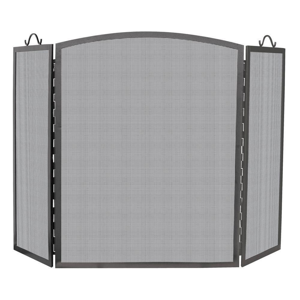 Arch Top Olde World Iron 3-Panel Fireplace Screen, Medium