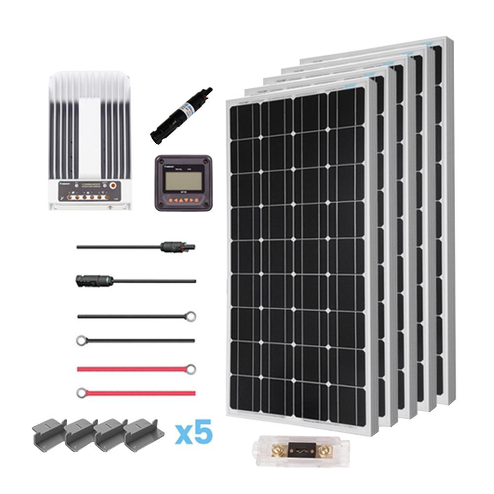 Renogy 500-Watt 12-Volt Mono Solar Premium Kit for Off-Grid Solar System