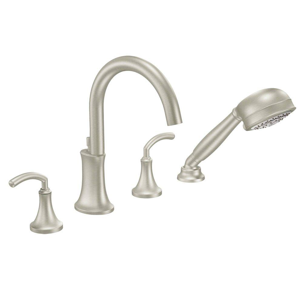 MOEN Icon 2-Handle High-Arc Roman Tub Faucet Includes Hand Shower in Brushed Nickel (Valve Not Included)