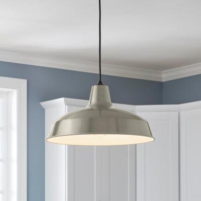 1-Light Brushed Nickel Warehouse Pendant