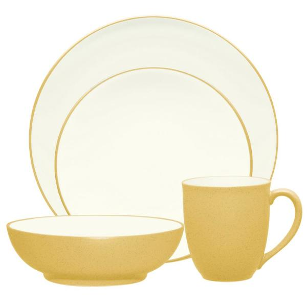 Colorwave Coupe 4-Piece Casual Mustard Stoneware Dinnerware Set (Service for 1)