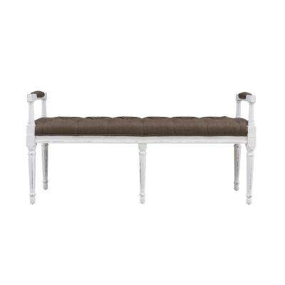 Ramah Antique White Wood and Upholstered Top Bench Ottoman in Chocolate Brown Linen