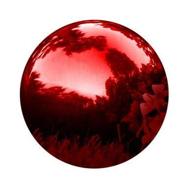10 in. Gazing Mirror Ball Stainless Steel in Red