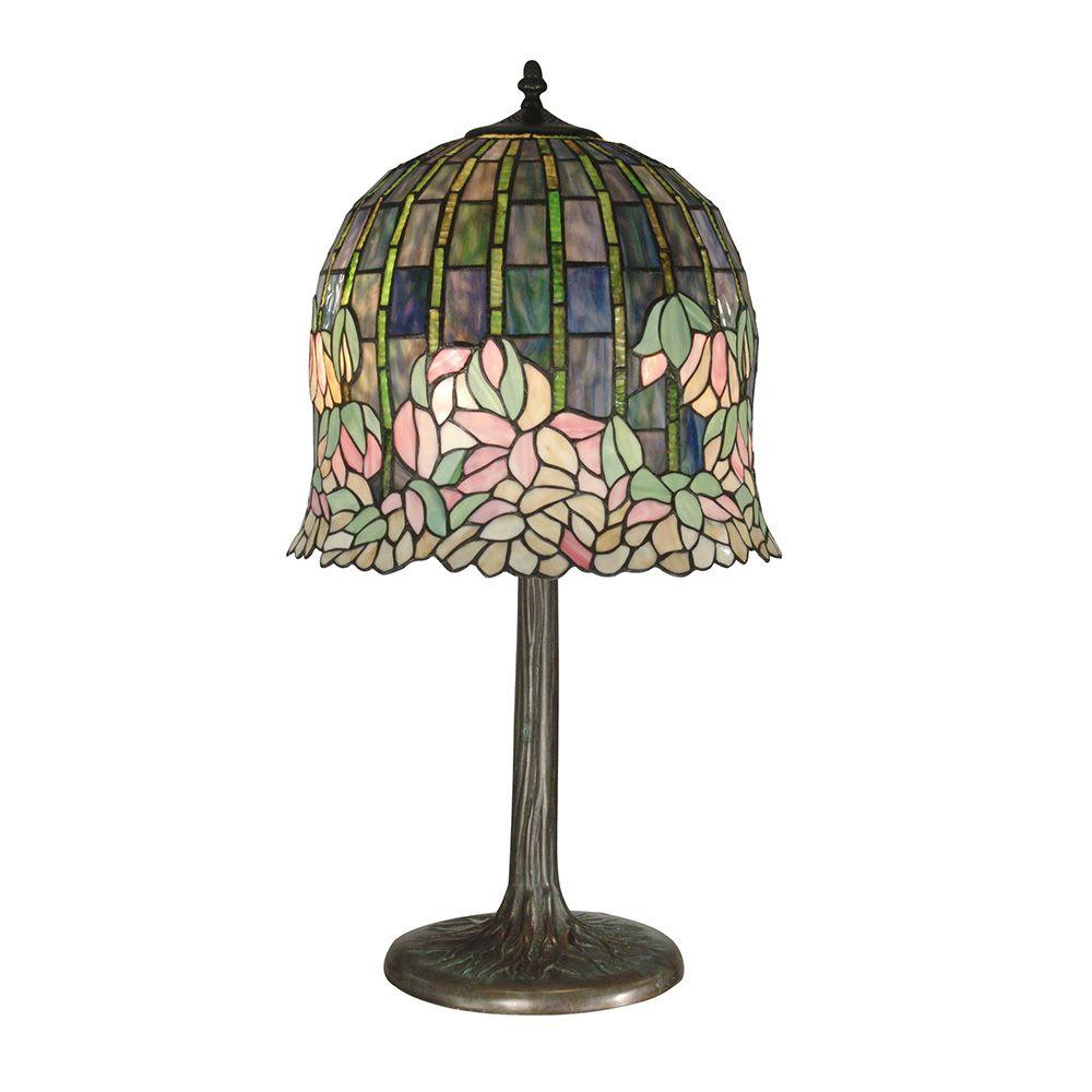 Dale Tiffany 29 in. Flowering Lotus Replica Antique Bronze/Verde Table Lamp