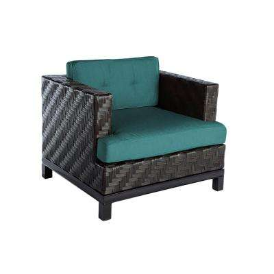 Rachel 1-Piece Wicker Patio Seating Set with Spectrum Peacock Cushion
