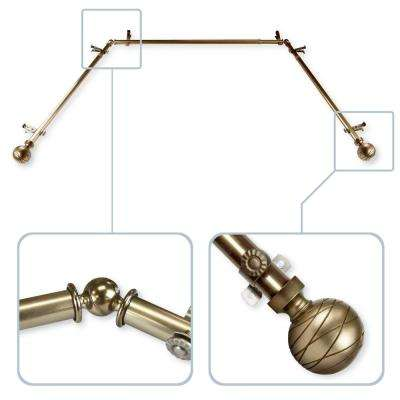 Arman 13/16 in. Bay Window Curtain Rod in Antique Brass