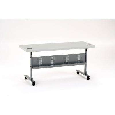 24 in. x 60 in. Grey Flip-N-Store Training Table