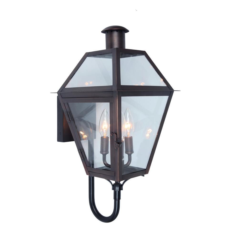 3-Light Brass Outdoor Wall Mount Lantern