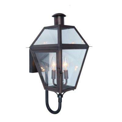 3-Light Copper Outdoor Wall Mount Lantern