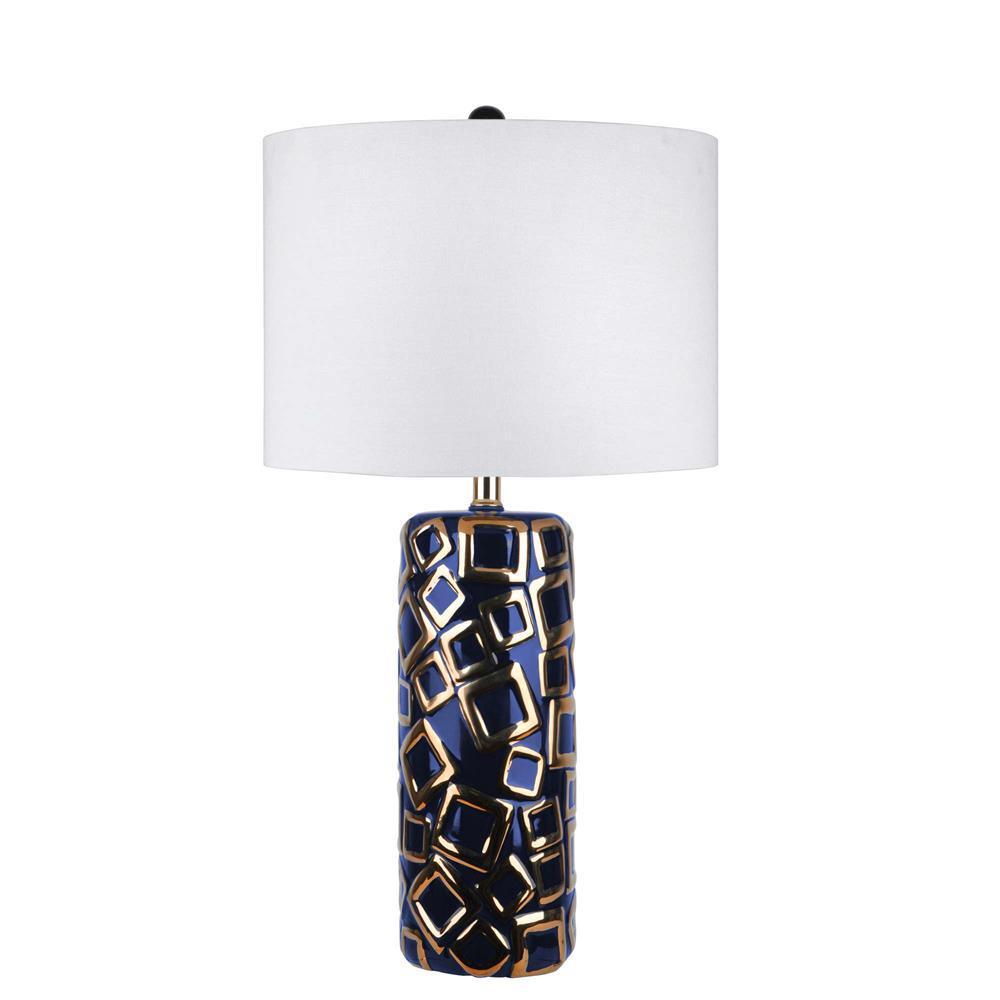 Lotus Cubical Ceramic 25 In Gold Table Lamp Npt03aa The Home Depot