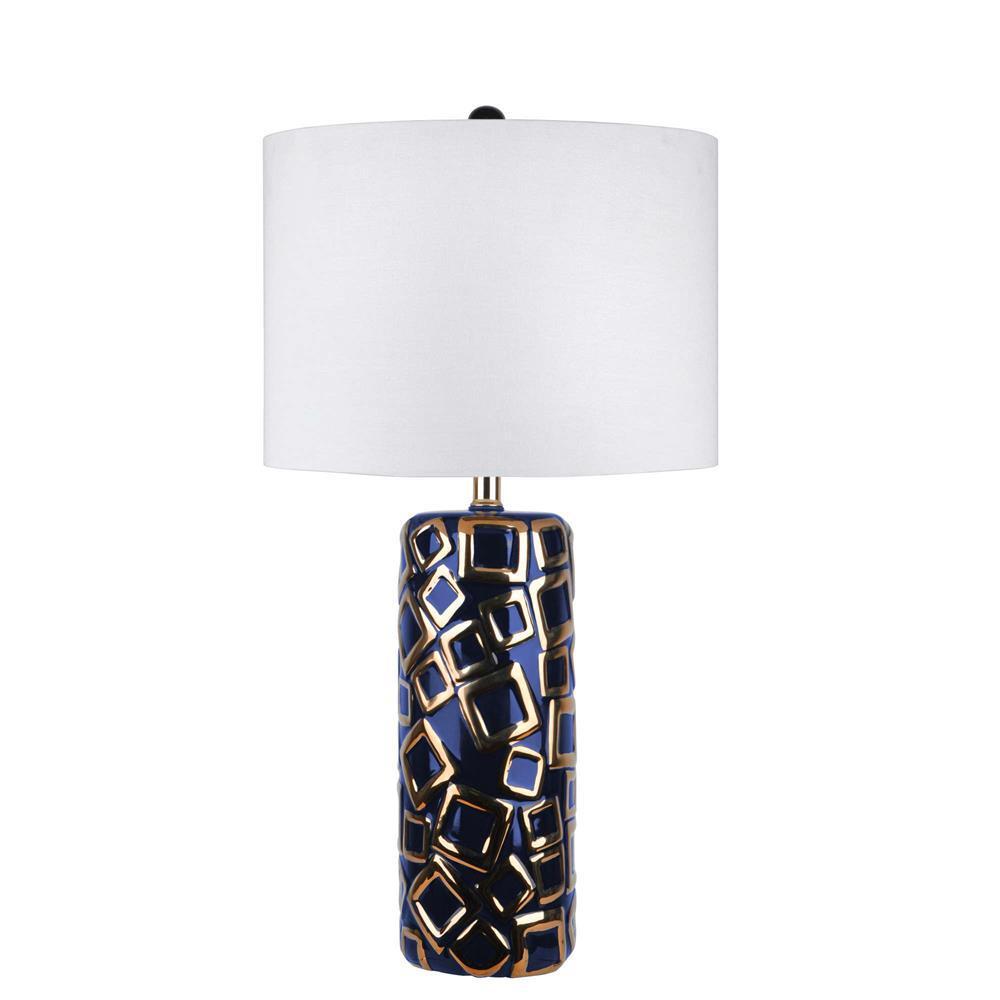 Lotus Cubical Ceramic 25 in. Gold Table Lamp