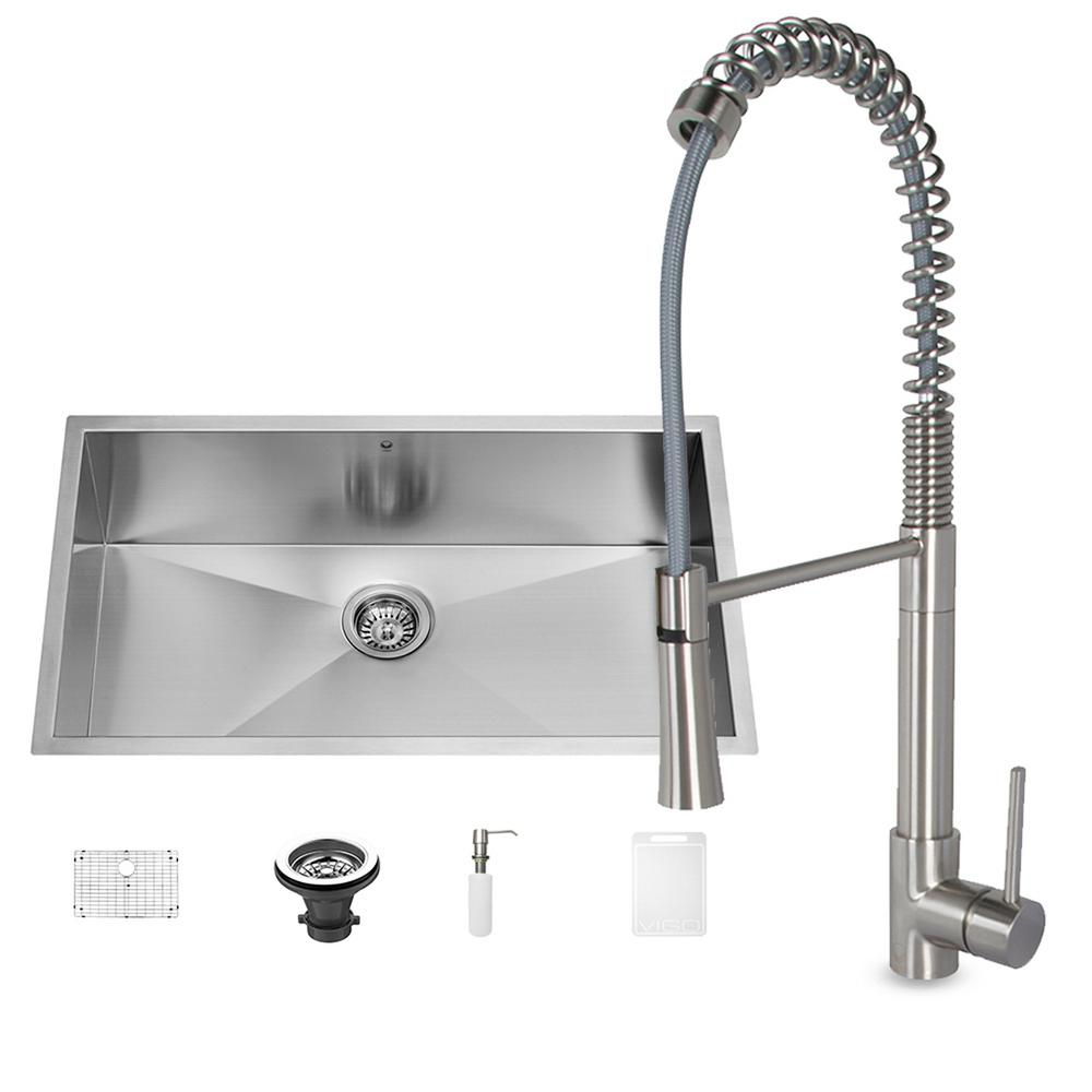 All-in-One Undermount Stainless Steel 32 in. Single Bowl Kitchen Sink and