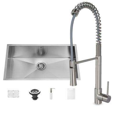 All-in-One Undermount Stainless Steel 32 in. Single Bowl Kitchen Sink and Laurelton Stainless Steel Faucet Set