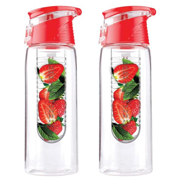 ASOBU Pure Flavor 2 Go 20 oz. Red Water Bottle (2-Pack)
