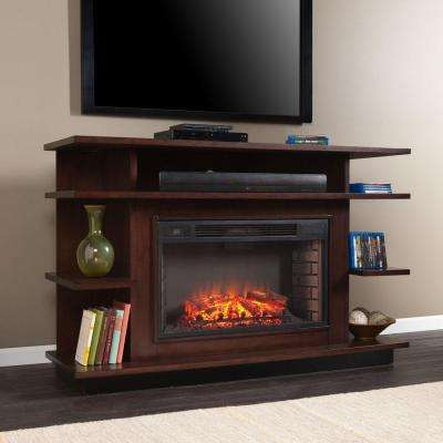 Freestanding Media Electric Fireplace In Espresso/Ebony Stain