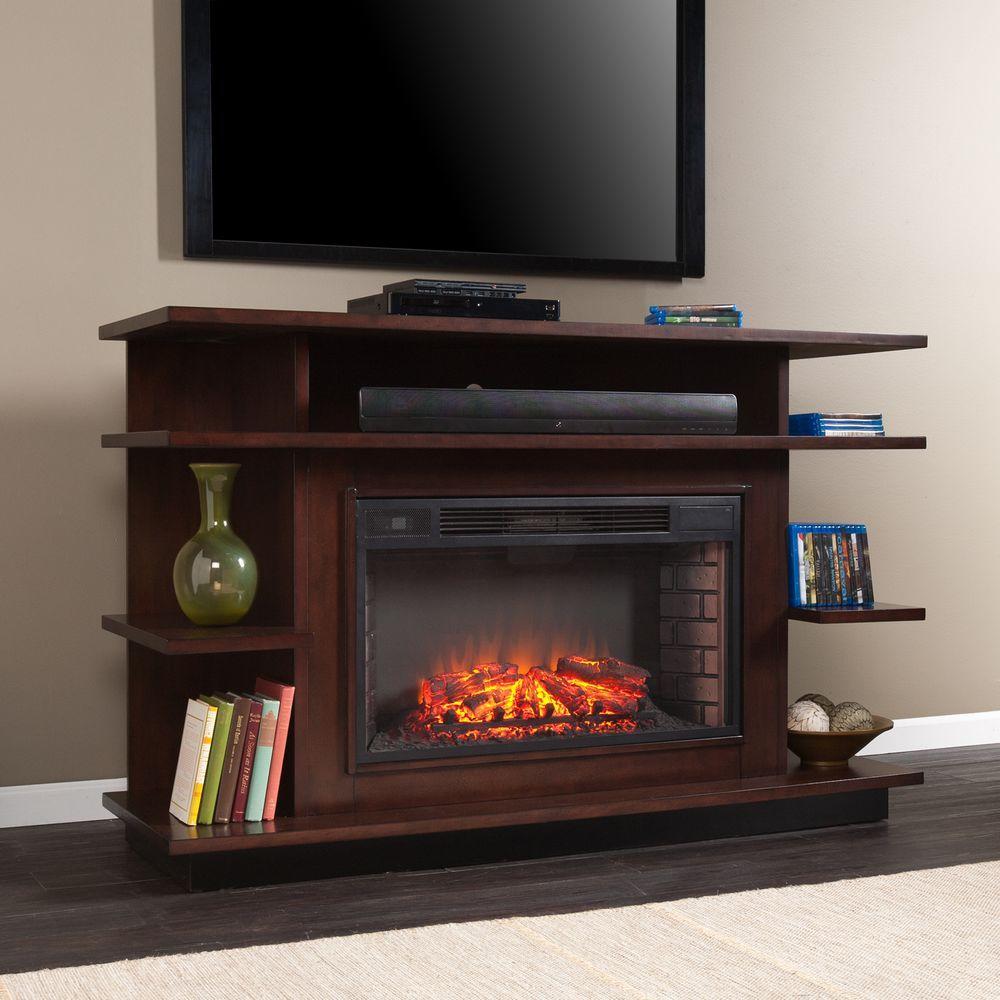 Maverick 63 in. Freestanding Media Electric Fireplace in Espresso/Ebony Stain