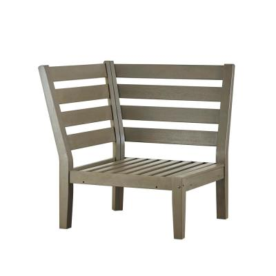 Verdon Gorge Gray Oiled Wood Outdoor Corner Lounge Chair