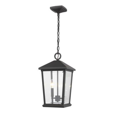 2-Light Oil Rubbed Bronze Outdoor Pendant Light with Clear Beveled Glass Shade