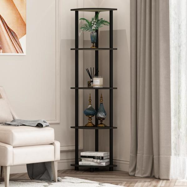 57.7 in. Black/Espresso Plastic 5-shelf Corner Bookcase with Open Storage