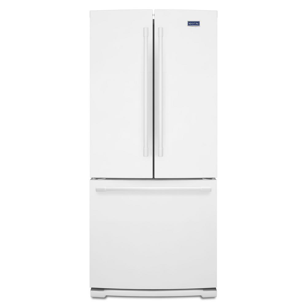 20 Cu Ft French Door Refrigerator: Maytag 30 In. W 20 Cu. Ft. French Door Refrigerator In White-MFF2055FRW