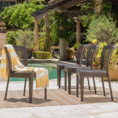 Jaylah Multi-Brown Stackable Wicker Outdoor Dining Chair (4-Pack)