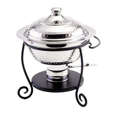 10 in. x 10-1/2 in. x 12 in. Round Hammered Stainless Steel Chafing Dish with Black Iron Stand 1-3/4 Qt.