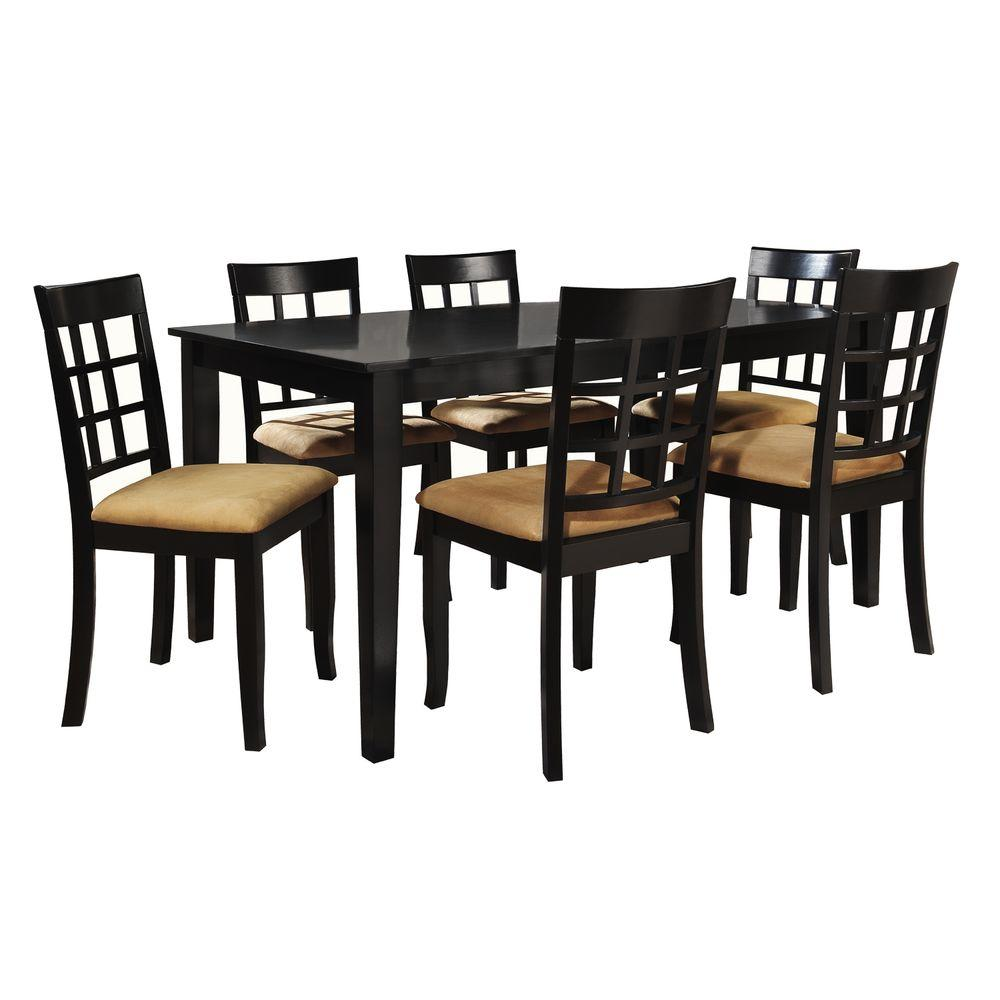 7 piece black dining room set. HomeSullivan 7 Piece Black Dining Set 40122D200W 7PC 712W  The