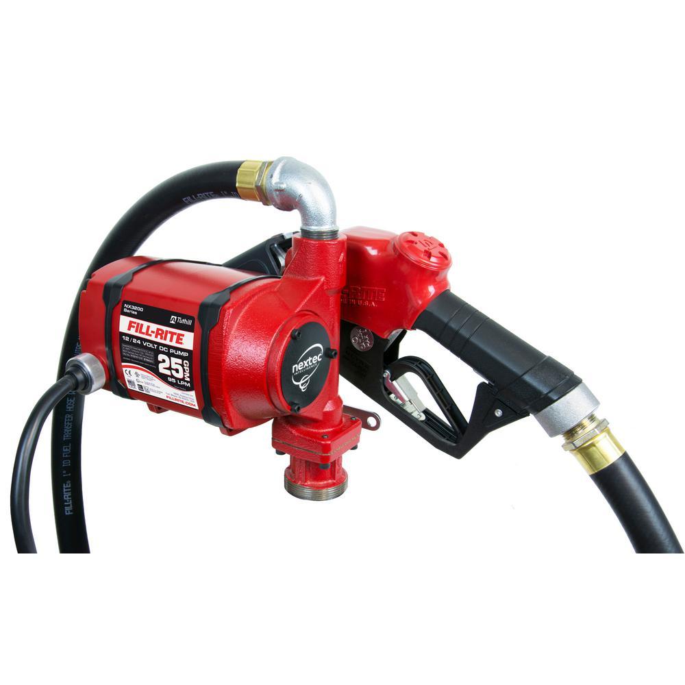 12-Volt /24-Volt 25 GPM 1/3 HP Nextec Fuel Transfer Pump w/Discharge Hose Power Cord and Automatic Nozzle (Bung Mount)