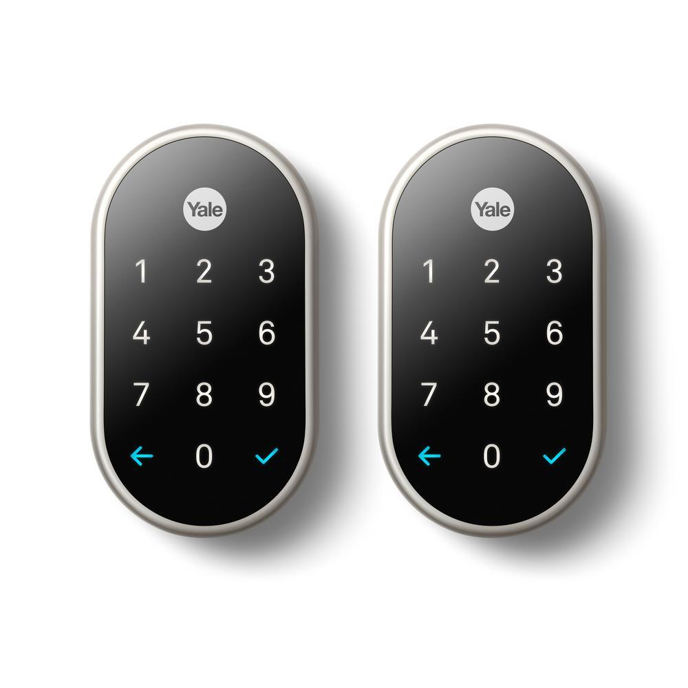 Smart Door Lock Nest Yale Lock Satin Nickel with Nest Connect (2-Pack)