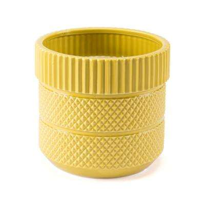 Inca 7.7 in. W x 7.1 in. H Yellow Dolomite Planter
