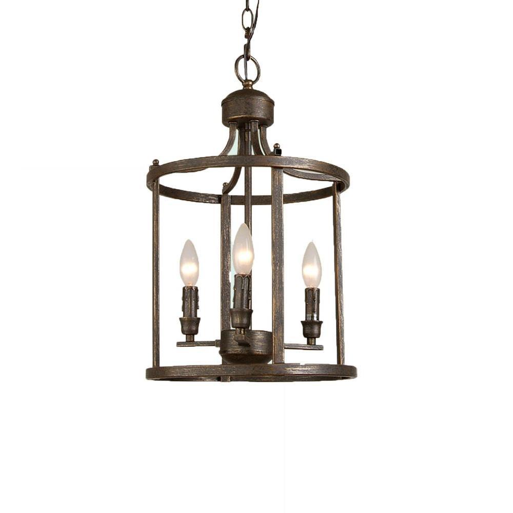 Filament Design Xavier 3-Light Brown Incandescent Ceiling Lantern