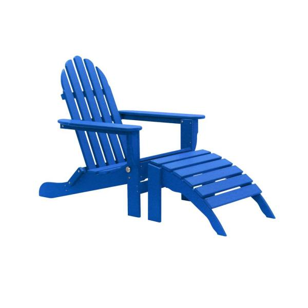 Icon Royal Blue 2-Piece Folding Recycled Plastic Adirondack Chair
