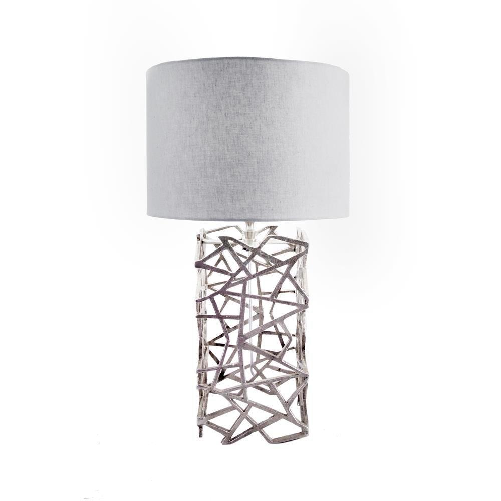 Lattice Mesh 25 in. Silver Table Lamp