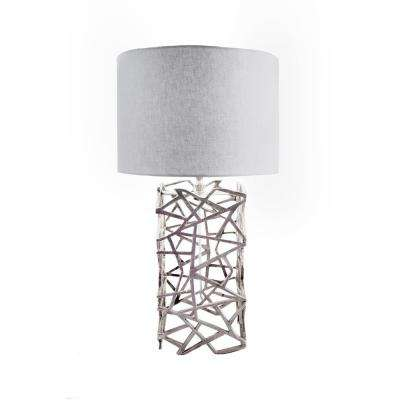 Cylindrical silver table lamps lamps the home depot silver table lamp mozeypictures Choice Image