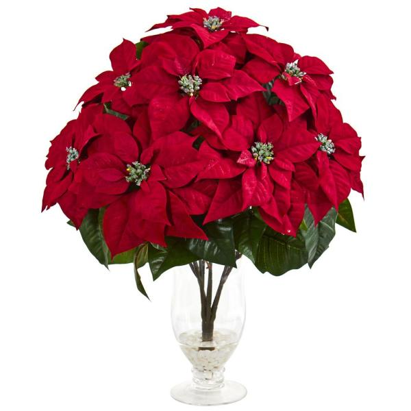 Nearly Natural Indoor Poinsettia Artificial Arrangement in Glass Vase