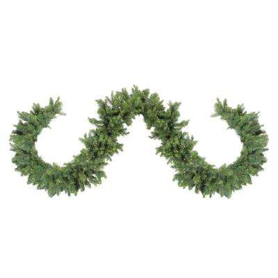108 in. Pre-Lit LED Oregon Noble Fir Artificial Christmas Garland with Warm White Lights