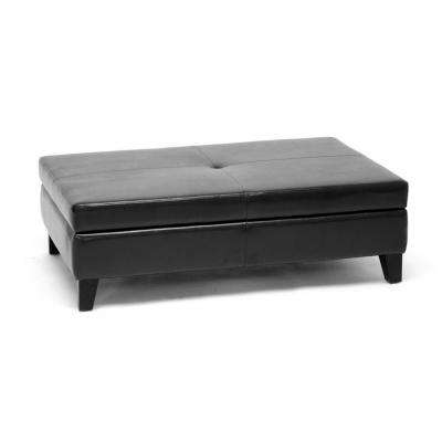 Jack Traditional Black Faux Leather Upholstered Storage Ottoman