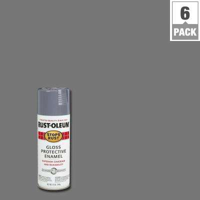 Protective Enamel Gloss Smoke Gray Spray Paint 6 Pack