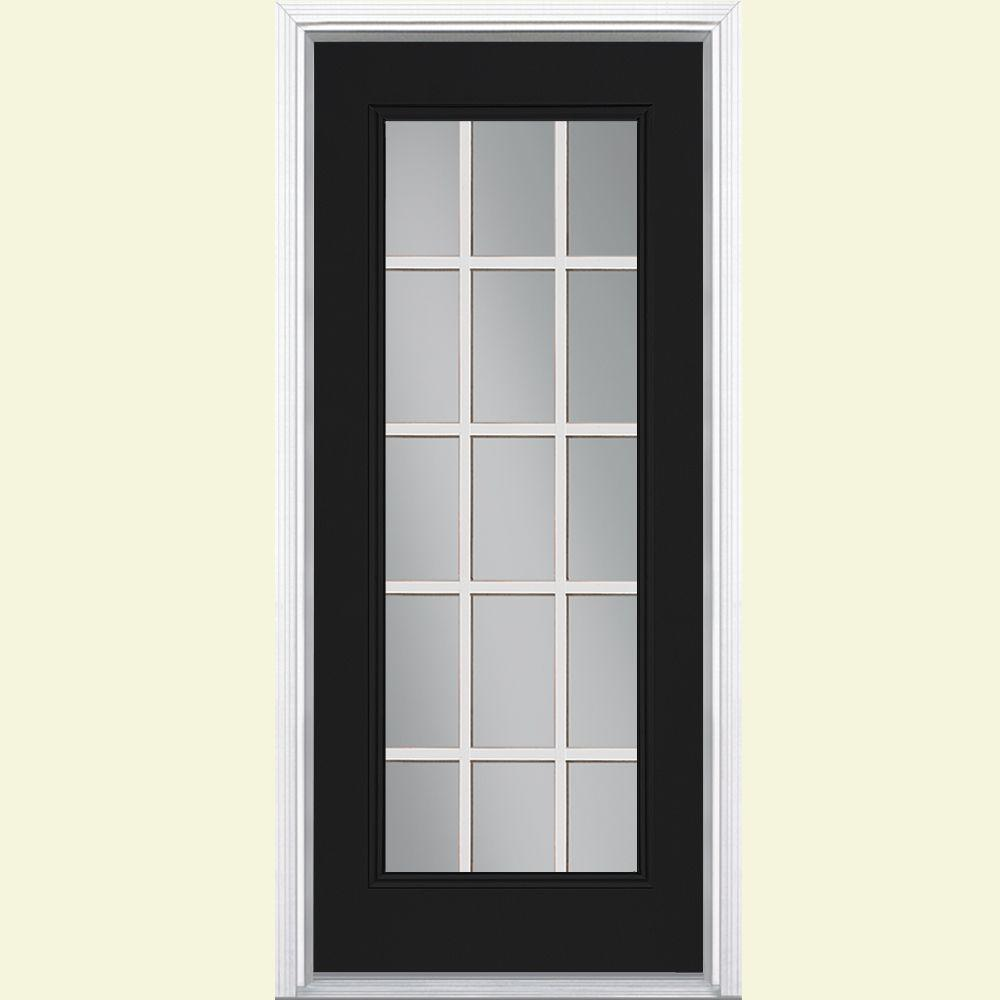Masonite 32 in x 80 in jet black 15 lite right hand for Black entry door with glass